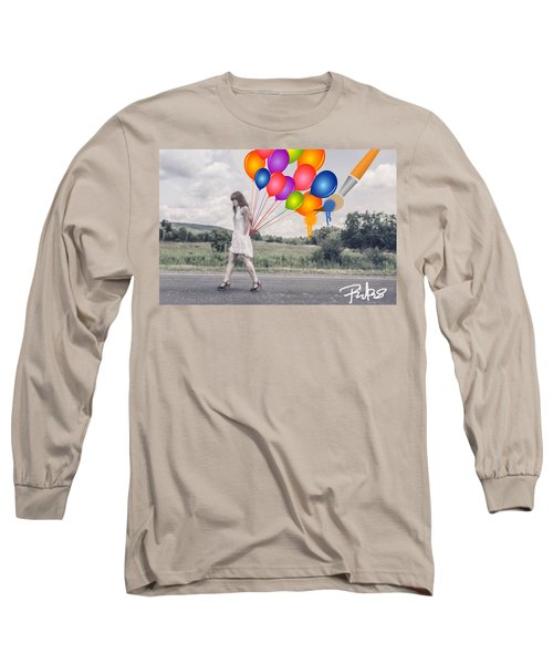 Girl Walking With Ballons #1 Long Sleeve T-Shirt by Diana Riukas