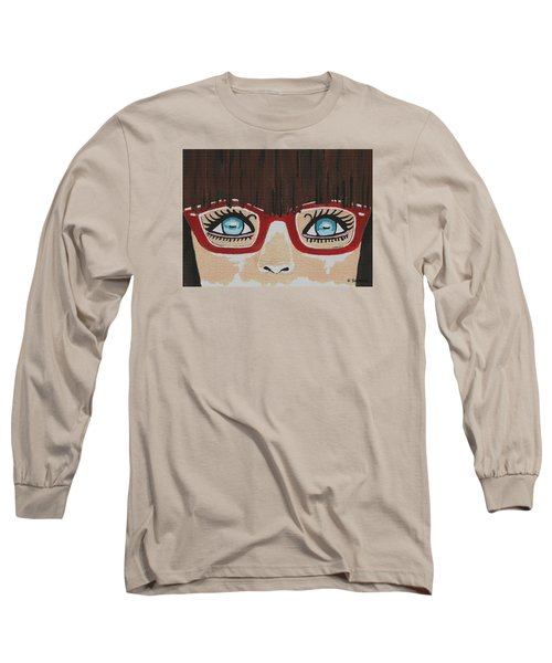Long Sleeve T-Shirt featuring the painting Girl With The Red Glasses by Kathleen Sartoris