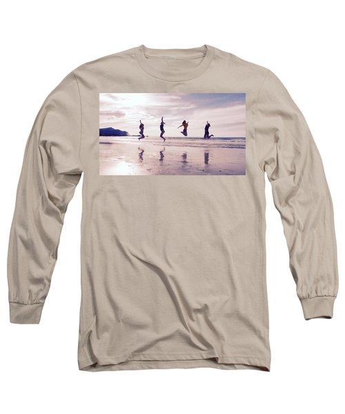 Girls Jumping On Lofoten Beach Long Sleeve T-Shirt by Tamara Sushko