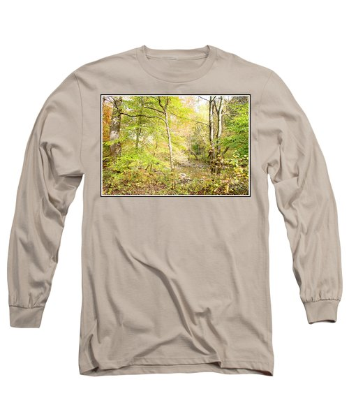 Glimpse Of A Stream In Autumn Long Sleeve T-Shirt by A Gurmankin