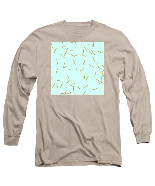 Glitter Confetti On Aqua Gold Pick Up Sticks Pattern Long Sleeve T-Shirt by Tina Lavoie