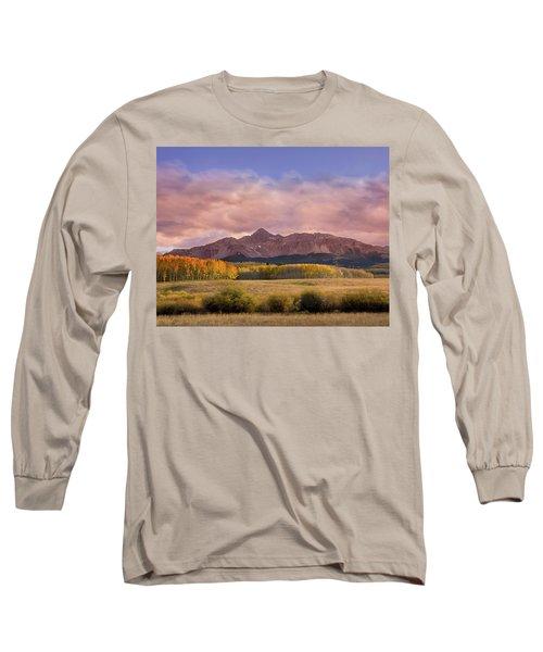 Glowing Aspens Below Wilson Peak Long Sleeve T-Shirt
