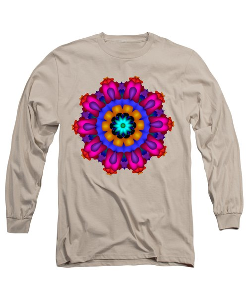 Glowing Fractal Flower Long Sleeve T-Shirt