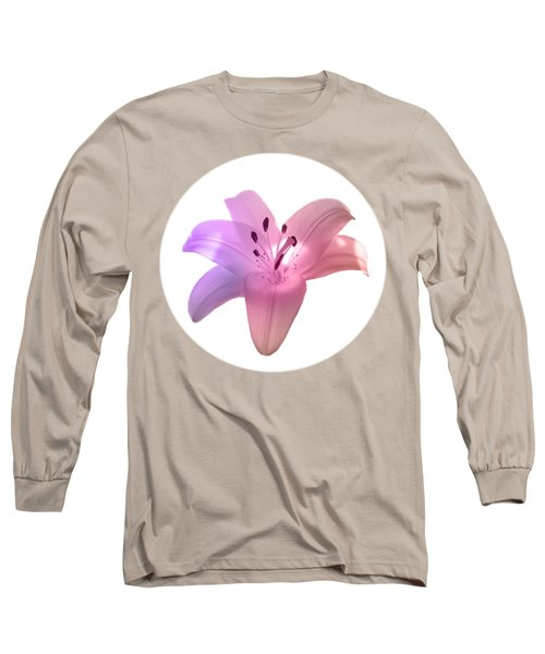 Glowing Pink Lily On White Long Sleeve T-Shirt