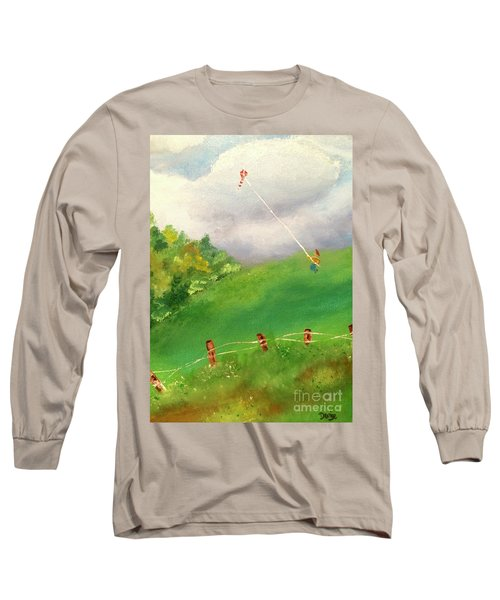 Long Sleeve T-Shirt featuring the painting Go Fly A Kite by Denise Tomasura