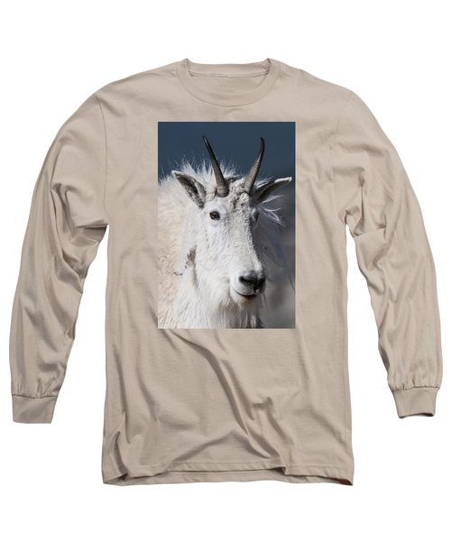 Goat Portrait Long Sleeve T-Shirt by Gary Lengyel