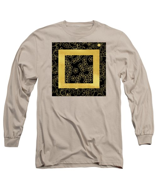 Gold And Black Long Sleeve T-Shirt by Bonnie Bruno