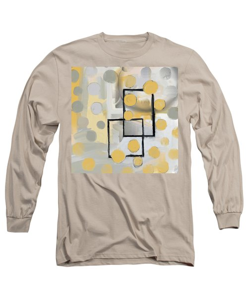 Gold And Grey Abstract Long Sleeve T-Shirt