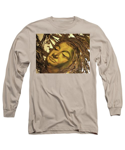 Long Sleeve T-Shirt featuring the painting Gold Buddha Head by Chonkhet Phanwichien