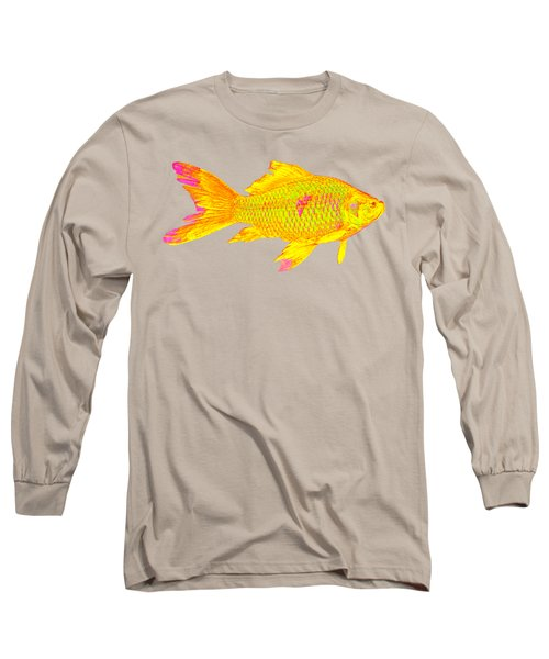 Gold Fish On Striped Background Long Sleeve T-Shirt