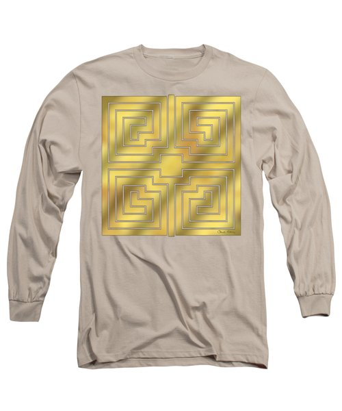 Long Sleeve T-Shirt featuring the digital art Gold Geo 4 - Chuck Staley Design  by Chuck Staley