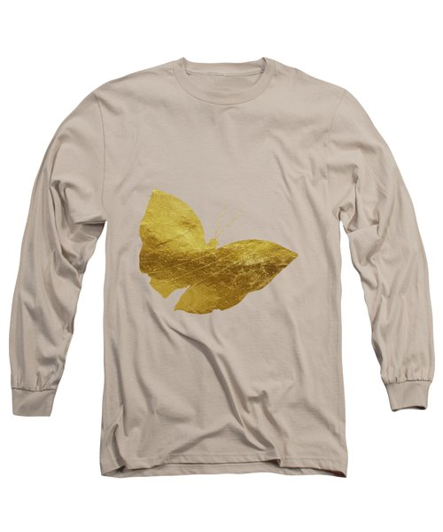 Gold Glam Butterfly Long Sleeve T-Shirt by P S