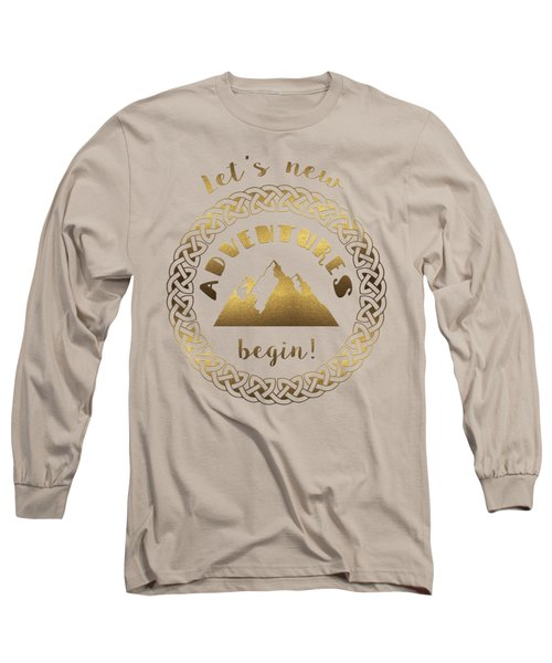 Gold Let's New Adventures Begin Typography Long Sleeve T-Shirt