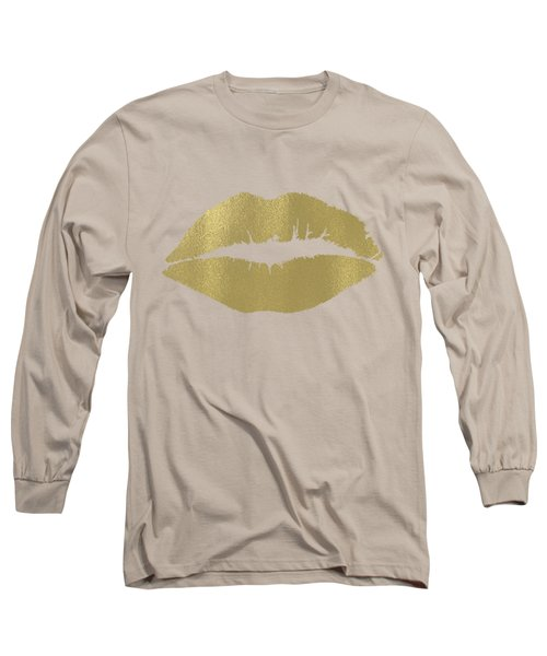 Gold Lips Kiss Long Sleeve T-Shirt by P S