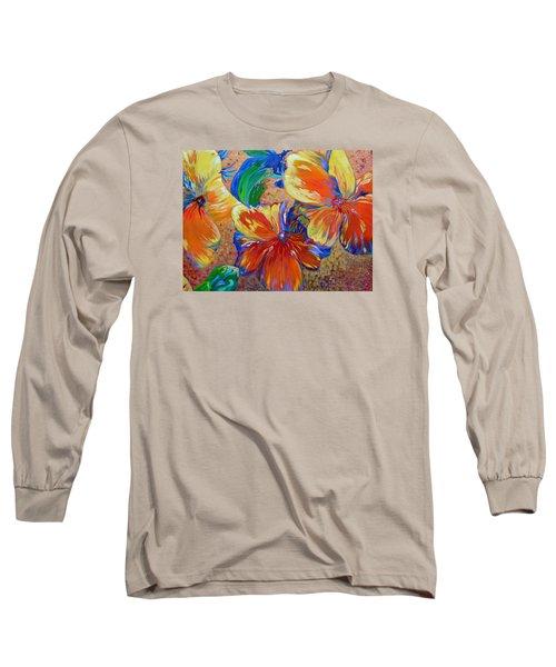 Golden Boiled Flowers Long Sleeve T-Shirt