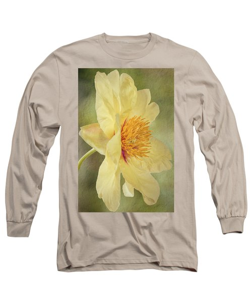 Golden Bowl Tree Peony Bloom - Profile Long Sleeve T-Shirt by Patti Deters