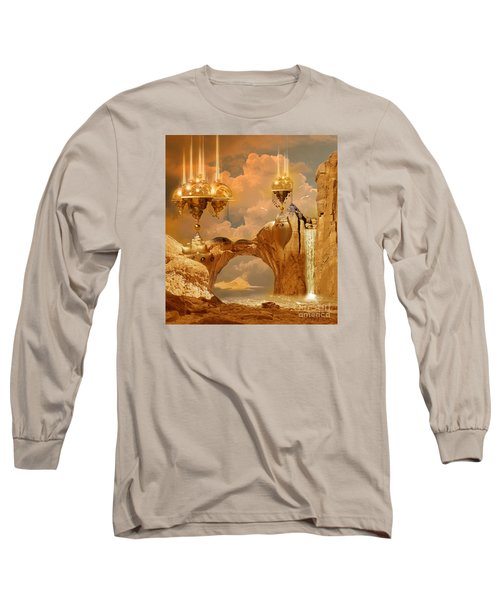 Long Sleeve T-Shirt featuring the digital art Golden City by Alexa Szlavics