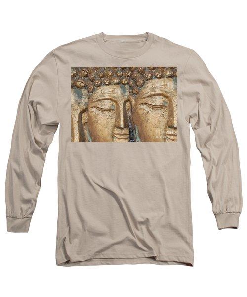 Golden Faces Of Buddha Long Sleeve T-Shirt by Linda Prewer