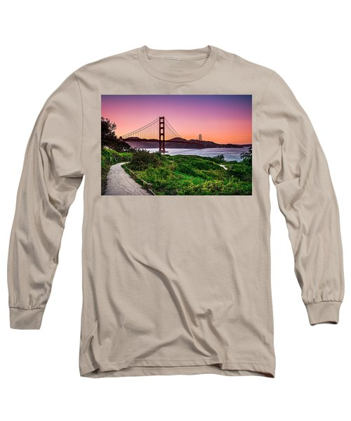 Long Sleeve T-Shirt featuring the photograph Golden Gate Bridge San Francisco California At Sunset by Alex Grichenko