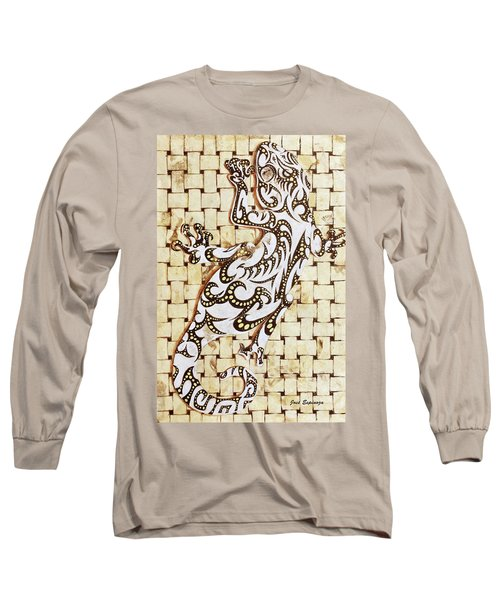 Long Sleeve T-Shirt featuring the painting Golden Gecko by J- J- Espinoza