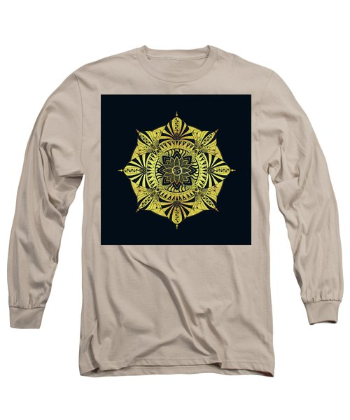 Long Sleeve T-Shirt featuring the drawing Golden Geometry by Deborah Smith