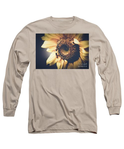 Long Sleeve T-Shirt featuring the photograph Golden Honey Bees And Sunflower by Sharon Mau