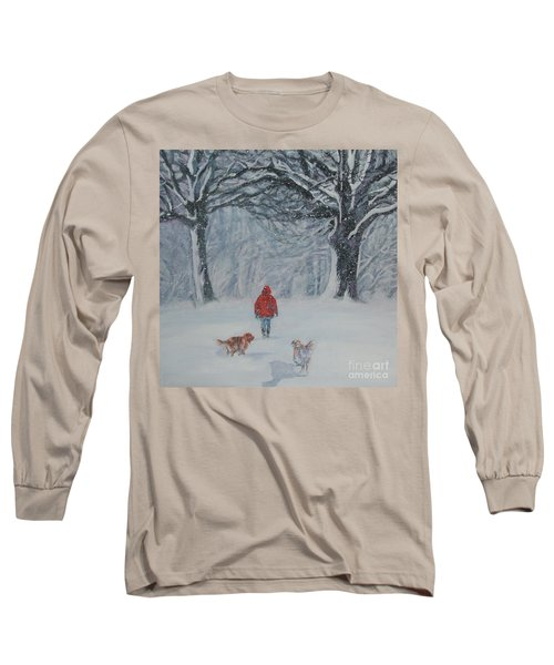 Golden Retriever Winter Walk Long Sleeve T-Shirt by Lee Ann Shepard