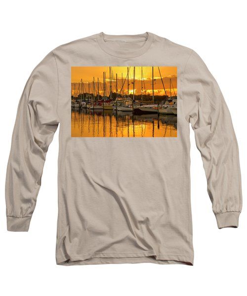 Golden Sailboat Sunrise Over Stuart Marina, Florida Long Sleeve T-Shirt