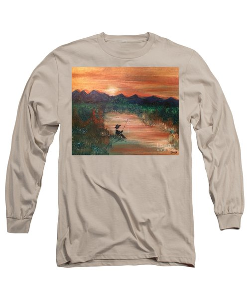 Long Sleeve T-Shirt featuring the painting Golden Sunset by Denise Tomasura
