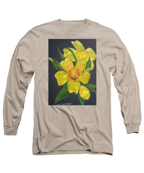 Golden Trumpet Flower - Allamanda Vine Long Sleeve T-Shirt by Anita Putman