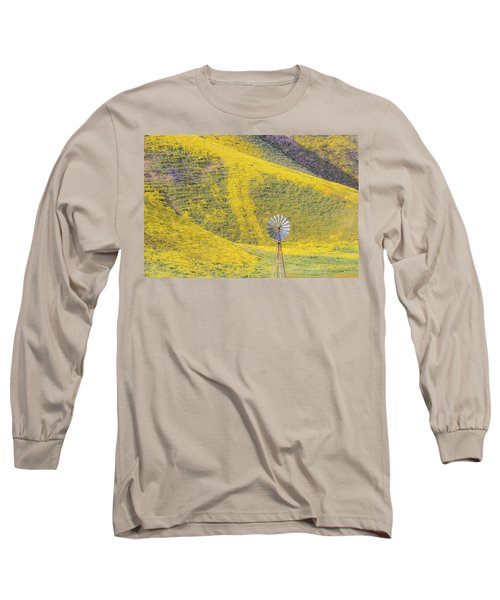 Goldfields And Windmill At Carrizo Plain  Long Sleeve T-Shirt by Marc Crumpler