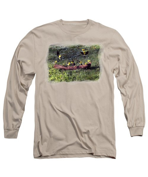 Long Sleeve T-Shirt featuring the photograph Goldfinch Convention by Nick Kloepping
