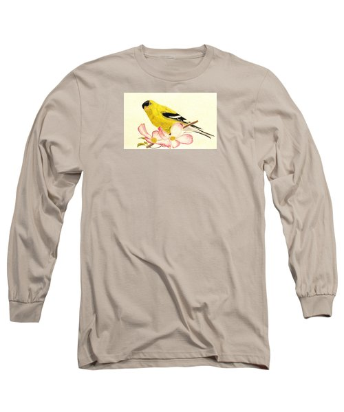 Goldfinch Spring Long Sleeve T-Shirt by Angela Davies