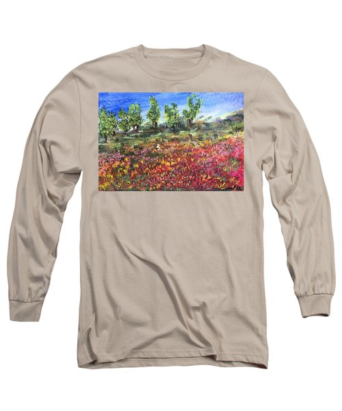 Long Sleeve T-Shirt featuring the painting Goodbye Winter by Norma Duch