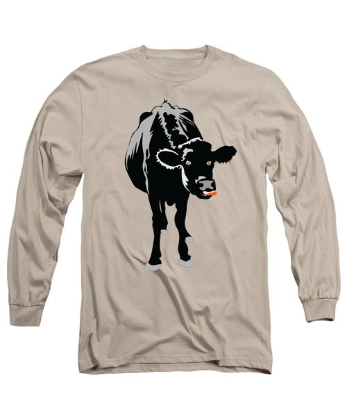 Goofy Looking Black Cow Licks Her Nose Long Sleeve T-Shirt