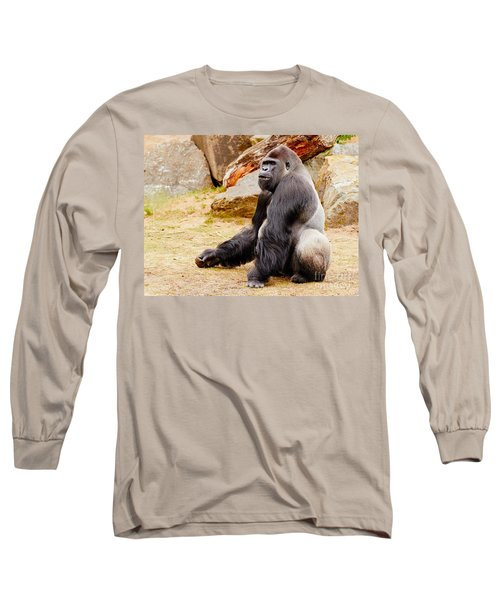 Gorilla Sitting Upright Long Sleeve T-Shirt