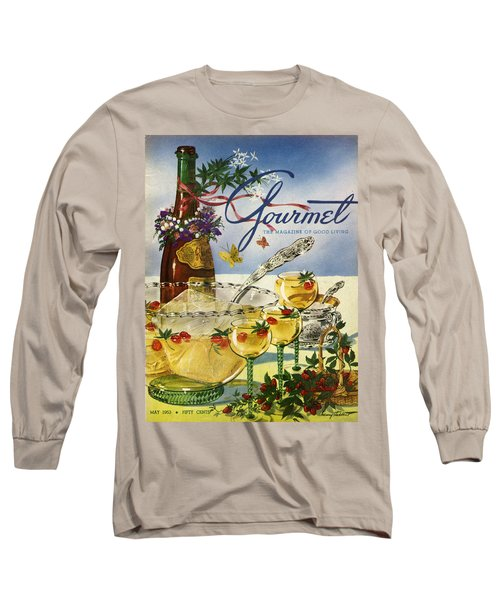 Gourmet Cover Featuring A Bowl And Glasses Long Sleeve T-Shirt