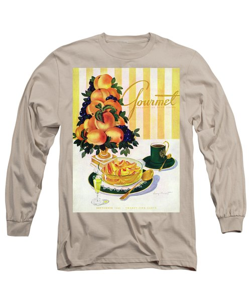 Gourmet Cover Featuring A Centerpiece Of Peaches Long Sleeve T-Shirt