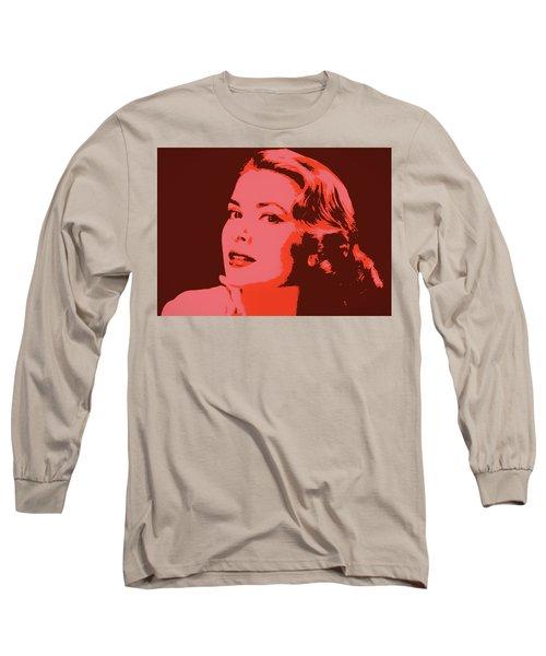 Grace Kelly Pop Art Long Sleeve T-Shirt by Dan Sproul