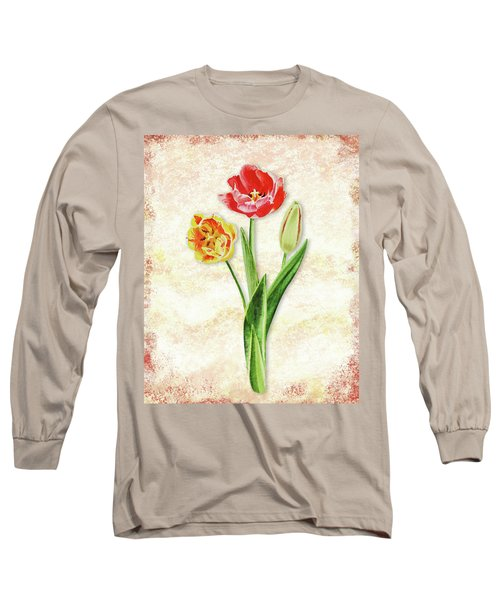 Long Sleeve T-Shirt featuring the painting Graceful Watercolor Tulips by Irina Sztukowski