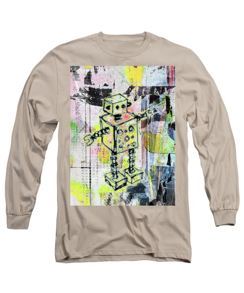 Graffiti Graphic Robot Long Sleeve T-Shirt by Roseanne Jones