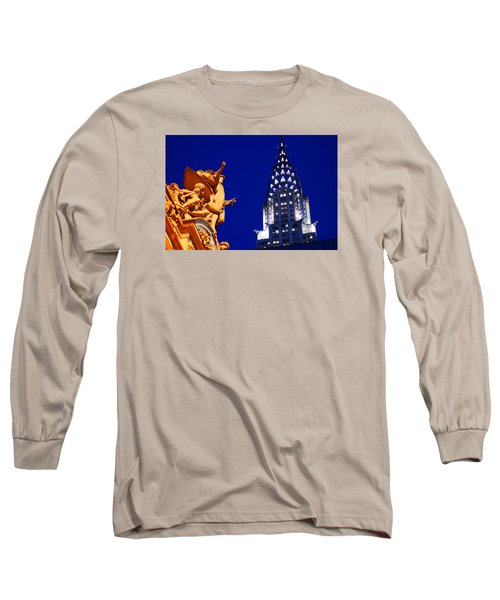 Grand Central Station And Chrysler Building Long Sleeve T-Shirt by James Kirkikis