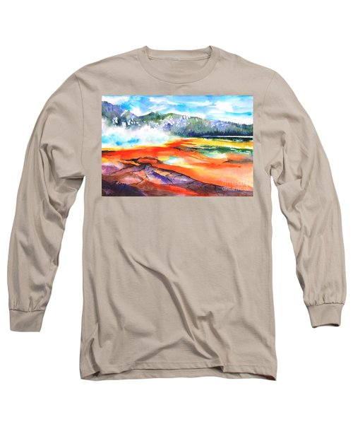 Grand Prismatic Hot Spring Long Sleeve T-Shirt by Betty M M Wong