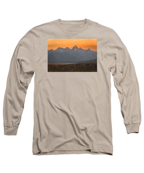 Grand Teton Sunset Long Sleeve T-Shirt by Serge Skiba