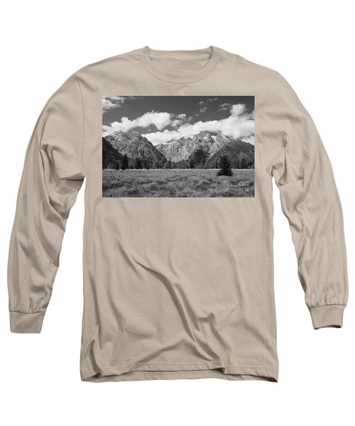 Grand Tetons In Black And White Long Sleeve T-Shirt