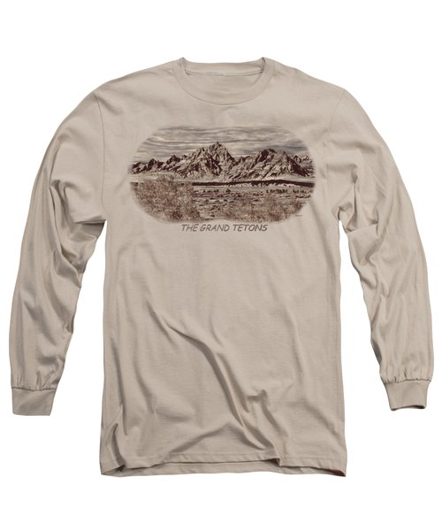 Grand Tetons Woodburning 2 Long Sleeve T-Shirt by John M Bailey