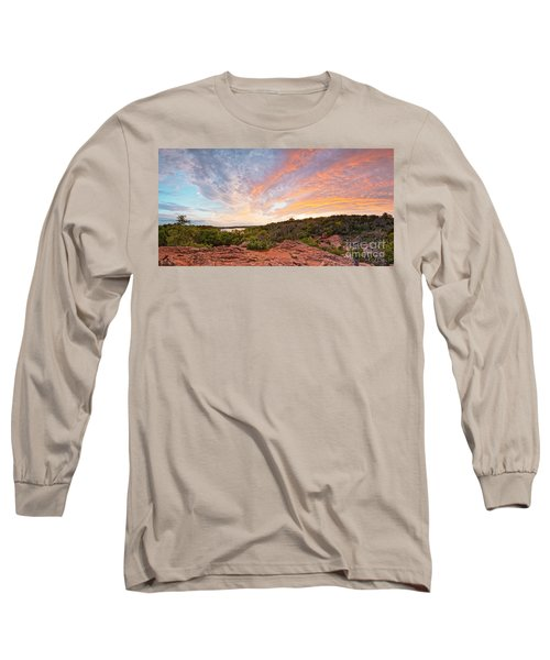 Granite Hills Of Inks Lake State Park Against Fiery Sunset - Burnet County Texas Hill Country Long Sleeve T-Shirt