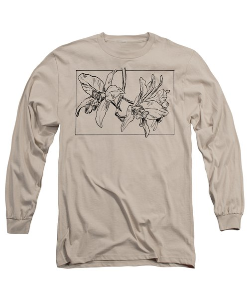 Graphic Orchid On Transparent Background Long Sleeve T-Shirt