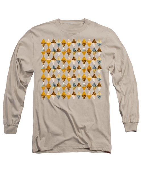 Graphic Pattern Funky Triangles - Golden Long Sleeve T-Shirt