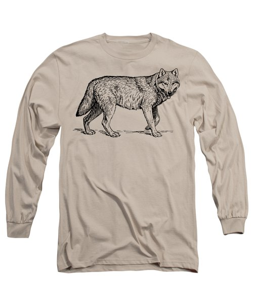 Gray Wolf Timber Wolf Western Wolf Woods Texture Long Sleeve T-Shirt